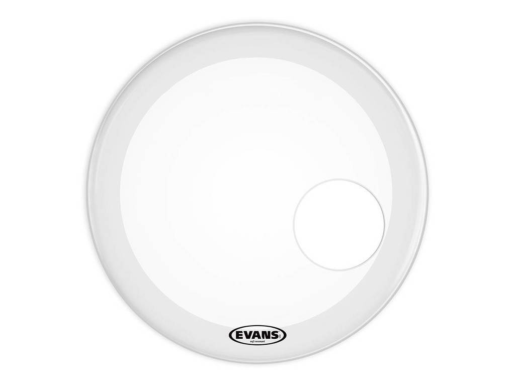 "Bassdrum Vel Evans BD22RSW, EQ3 Reso Smooth White, 1-ply 22"", coated, smooth wit met 5"" gat"