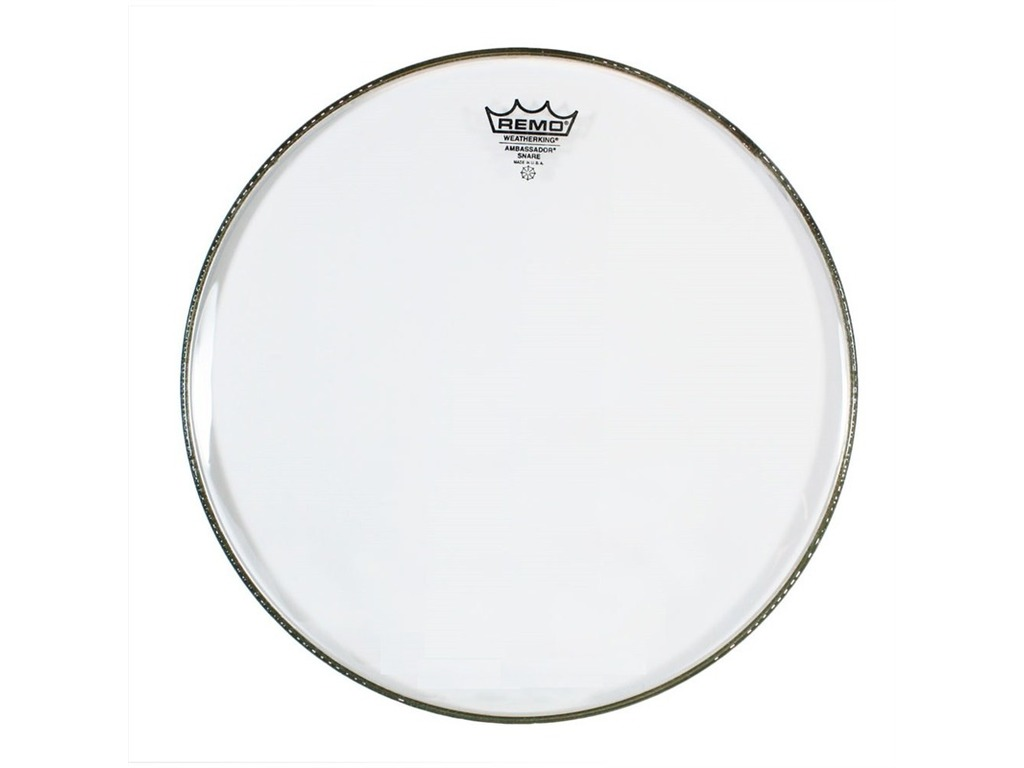 "Snaredrum Vel Remo SA-0313-TD, Ambassador Snareside Marching Snare, no collar, 1-ply 13"", clear"