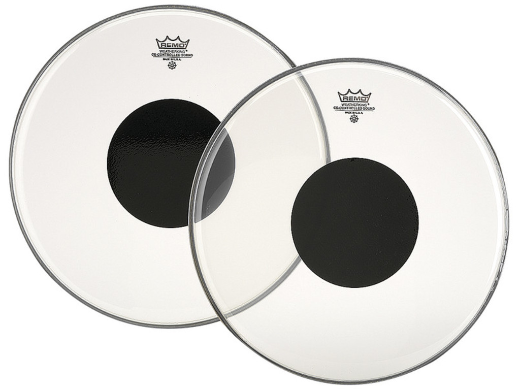 "Bassdrum Vel Remo CS-1324-10, Controlled Sound, Clear, 1-ply 24"", met zwarte dot"