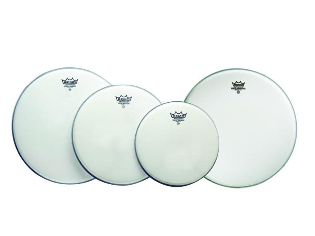 "Vellen set Remo PP-1020-BE, Emperor Coated Pro Pack : 2-ply 10"", 12"", 14"" + gratis Ambassador Coated, 1-ply 14"""