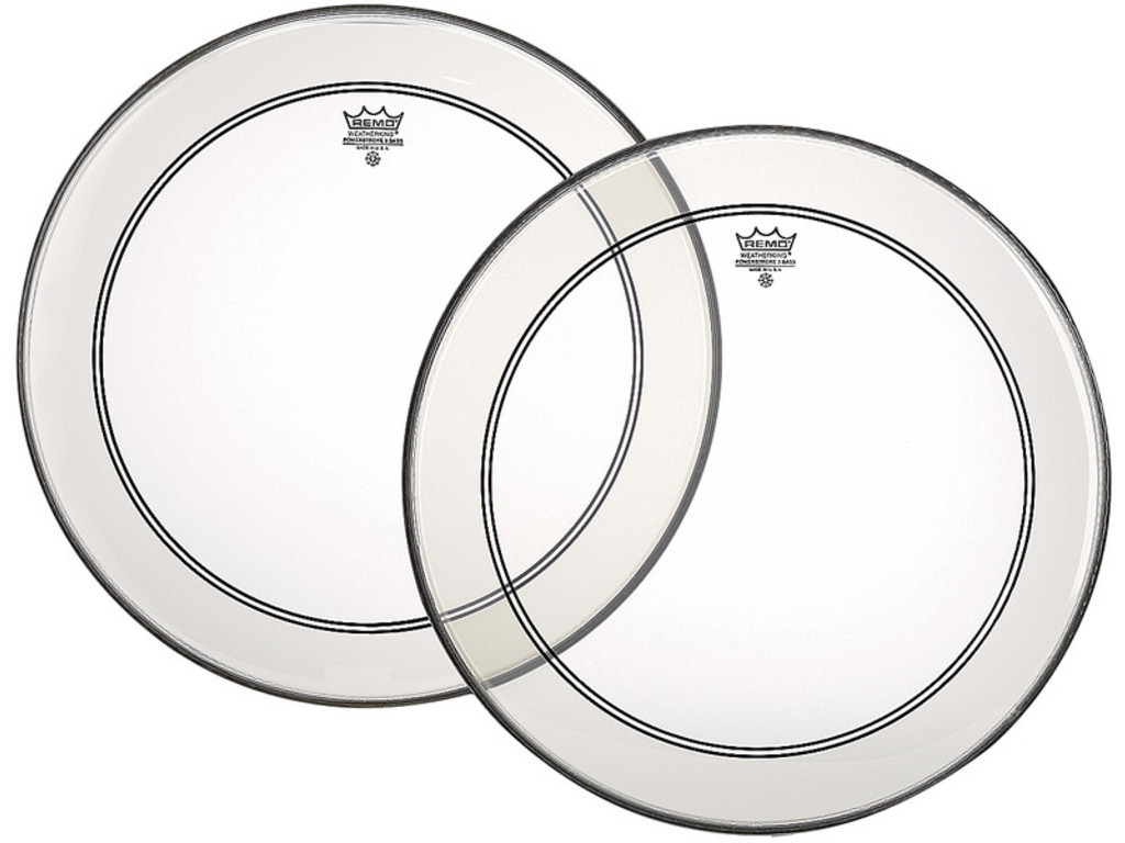 Bassdrum Vel Remo P3-1323-C2, Powerstroke 3 Clear + Dot, 1-ply 23""