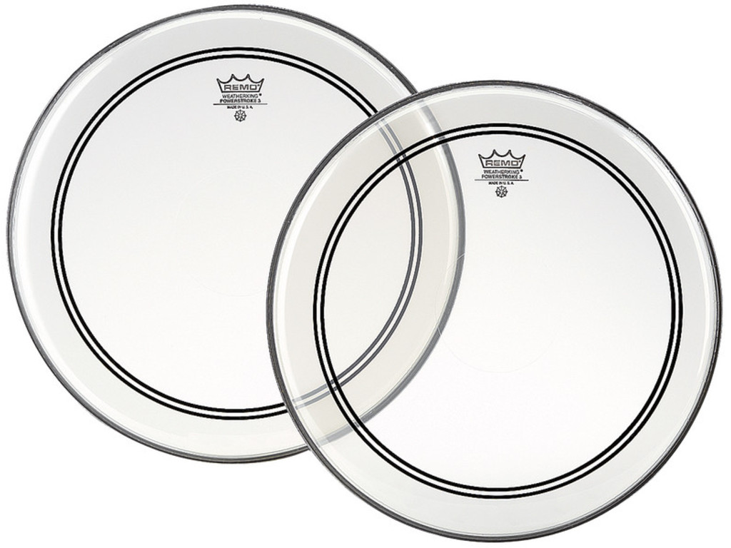 Bassdrum Vel Remo P3-1324-C2, Powerstroke 3 Clear + Dot, 1-ply 24""