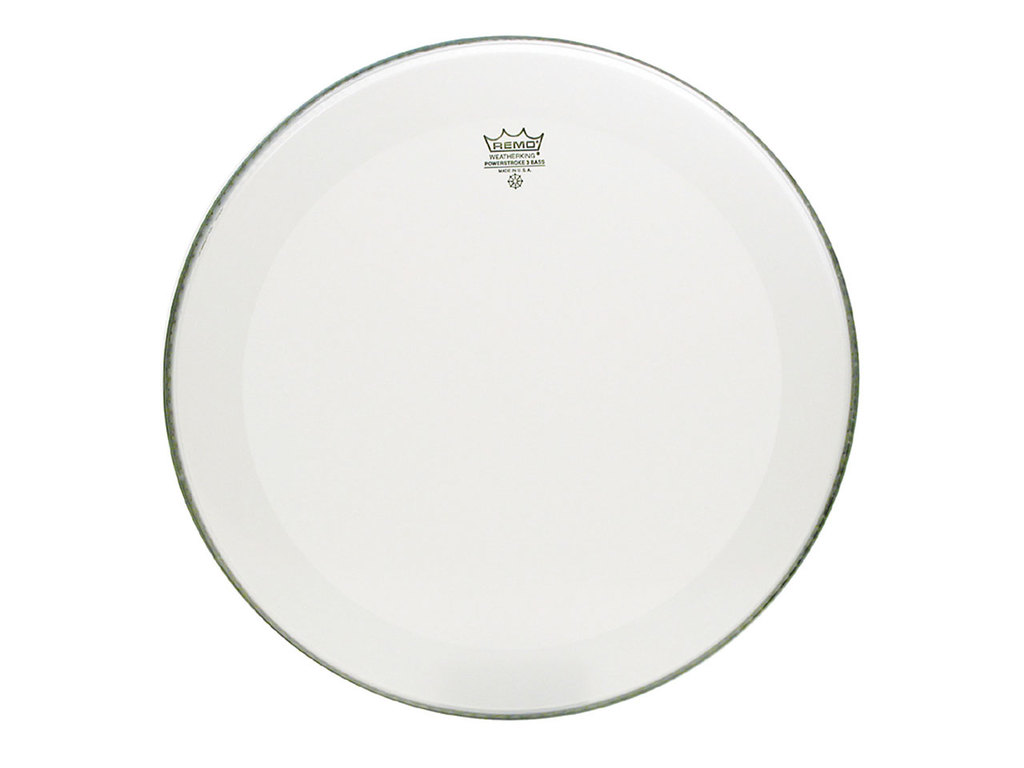 Bass Drum Head Remo P3-1224-C1, Powerstroke 3, Smooth White + Dot, 1-ply 24""