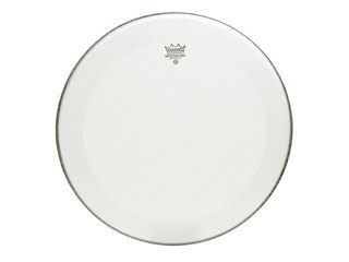 Bassdrum Vel Remo P3-1224-C1, Powerstroke 3, Smooth White + Dot, 1-ply 24""