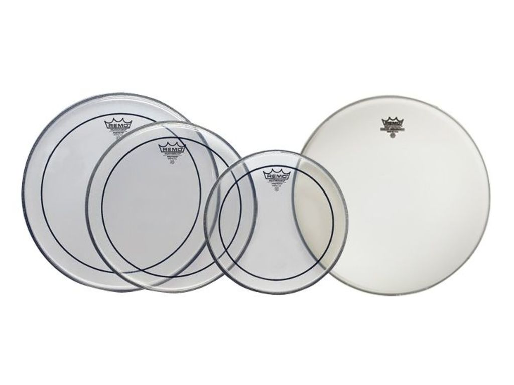 "Vellen set Remo PP-0110-PS, Pinstripe Clear Pro Pack : 2-ply 10"", 12"", 14"" + gratis Ambassador Coated, 1-ply 14"""