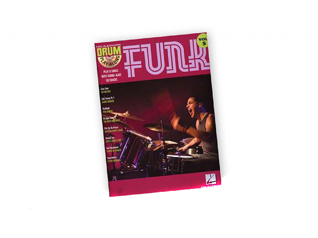 Bladmuziek Drums, Drum Along, Hal Leonard Volume 5, Funk (boek + Cd)
