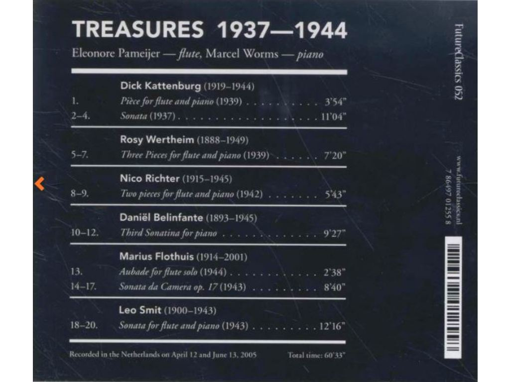 CD Dwarsfluit Treasures, Eleonore Pameijer (Fluit), Marcel Worms (Piano)