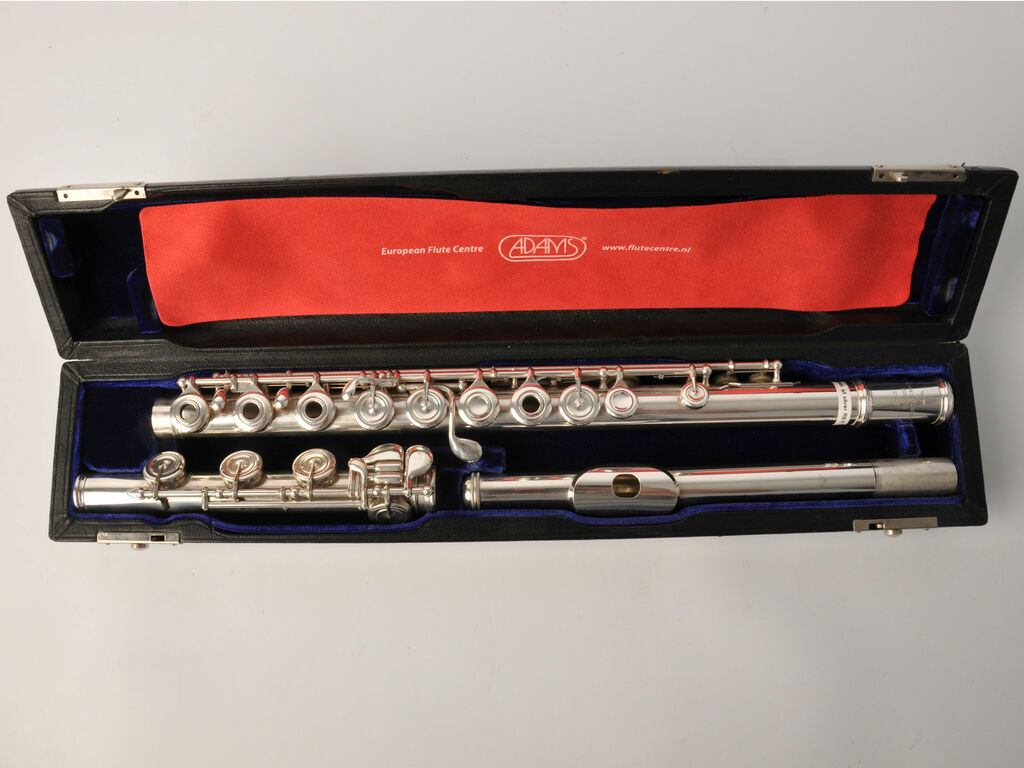 Gebruikte Dwarsfluit C Powell,all silver,soldered toneholes,inine,open keys,B-foot