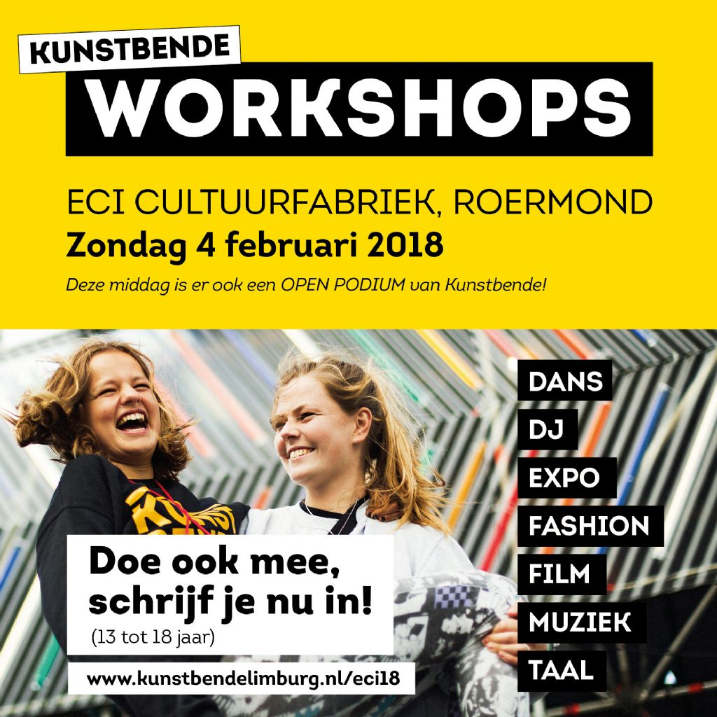 Kunstbende Open Podium en workshops in ECI Cultuurfabriek