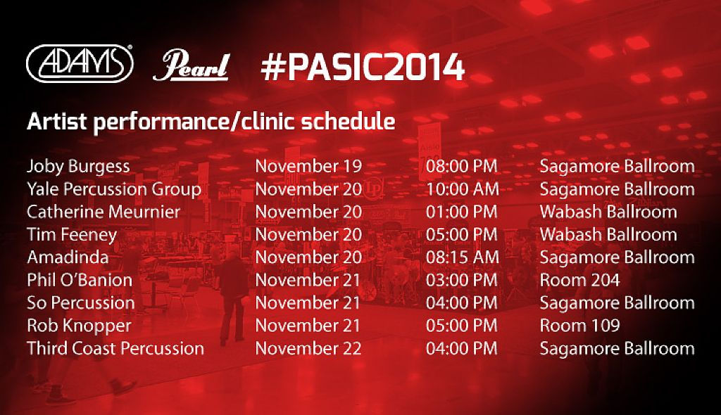 Adams PASIC 2014 artist roster highlights